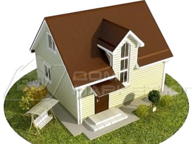 Доступный вариант жилого дома с мансардным этажом размером 6,5х7,6м