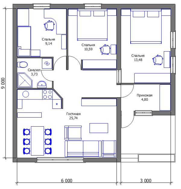 Проект дешёвого дома - первый вариант трансформации