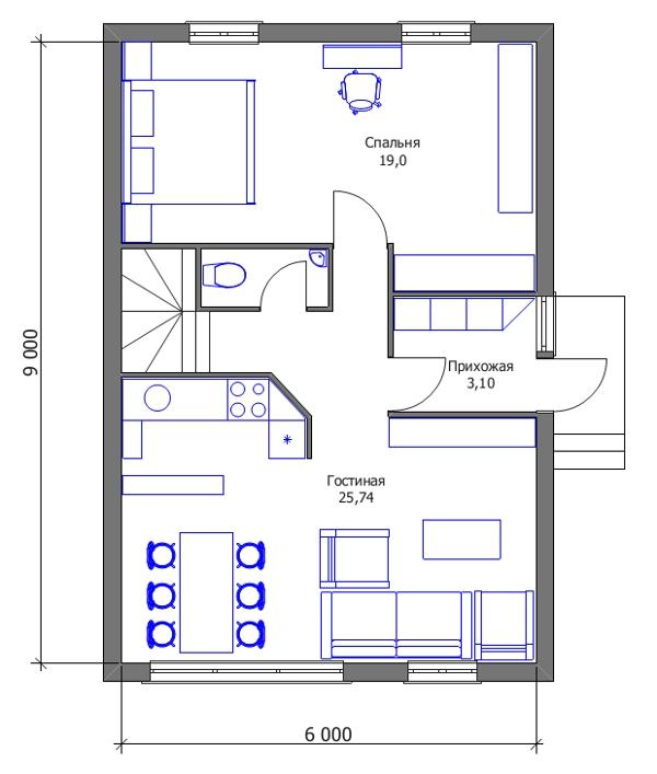 Проект дешёвого дома - вариант трансформации с учётом второго этажа