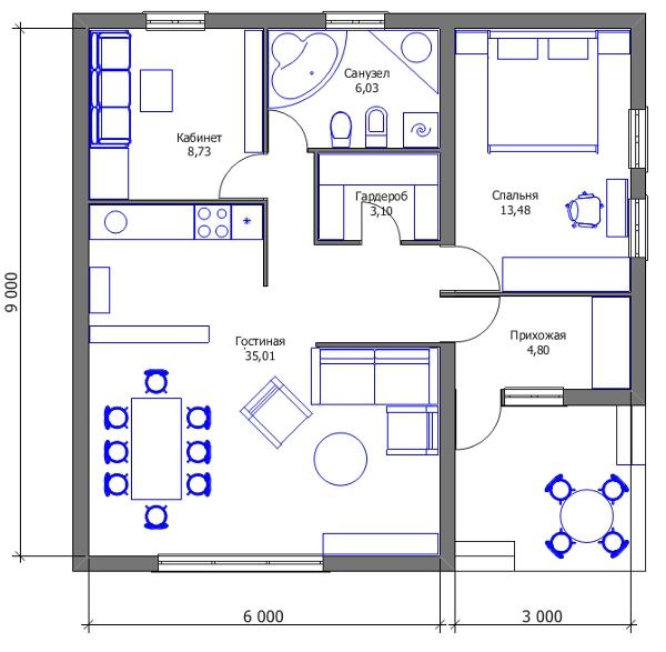 Проект дешёвого дома - второй вариант трансформации