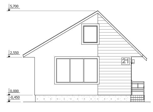 Проект дешёвого дома - главный фасад