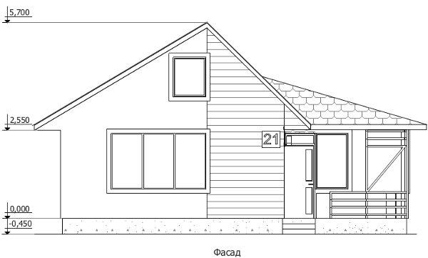 Проект дешёвого дома - главный фасад после трансформации