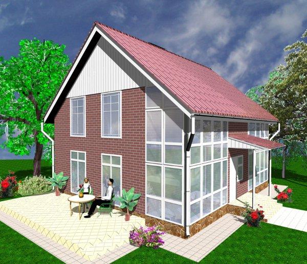 Проект дешёвого дома - внешний вид двухэтажного дома после трансформации